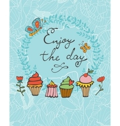 Enjoy the day colorful card with hand drawn vector