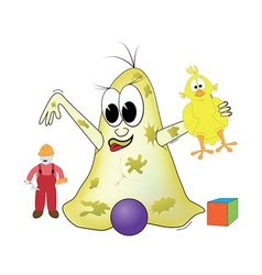 Bacteria is playing with toys vector