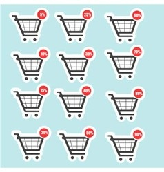 Shopping cart sale icons vector