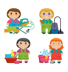 Set of four cartoon girls making cleaning the vector