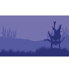 Silhouette of monster tree halloween vector