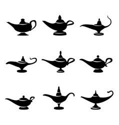 Aladdin lamp set icons aladdins lamp signs vector