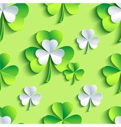 Background seamless pattern 3d Patrick leaf clover vector image