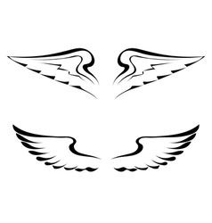 Black tattoo wings on a white background vector image vector image