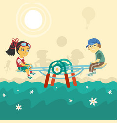 Children on swing vector
