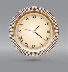 Clock with diamonds and roman numerals icon of vector