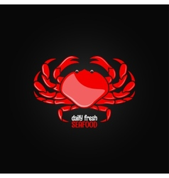 Crab seafood menu design background vector
