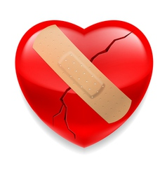 Cracked red heart with plaster vector image vector image