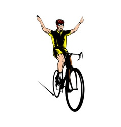 Cyclist riding bicycle flashing victory sign vector