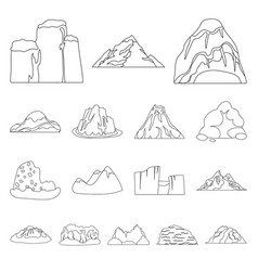 different mountains outline icons in set vector image