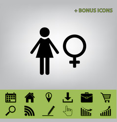 Female sign black icon at vector