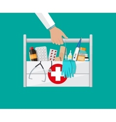 First aid kit with pills and medical devices vector