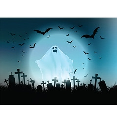 halloween ghost landscape vector image