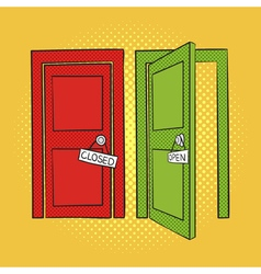 Hand drawn pop art of doors open and closed door vector