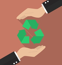 Hands holding recycle icon vector image