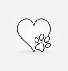 heart with dog paw icon vector image