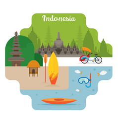 indonesia travel and attraction landmarks vector image vector image