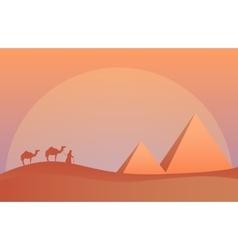 Landscape in savanna camel vector