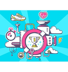 Mechanism to win sport goblet and relevan vector