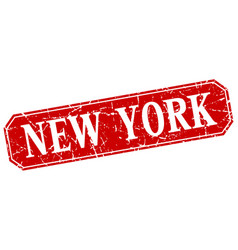 New york red square grunge retro style sign vector