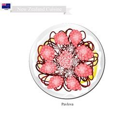 Pavlova meringue cake new zealand vector