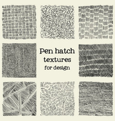 pen hatch grunge textures set vector image