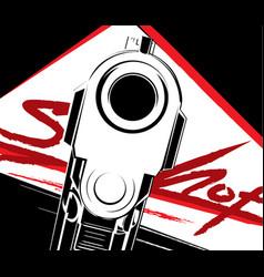 pistol criminal arm pistol vector image