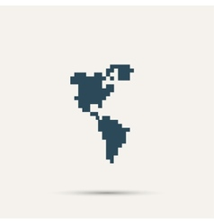 Pixel icon North and South America design vector image
