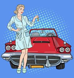 Pop art beautiful woman holding car keys vector