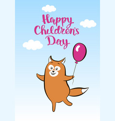 Postcard smiling cartoon fox with balloon for vector