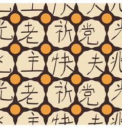 Seamless background with japanese hieroglyphs vector