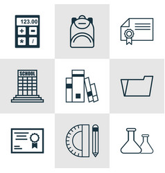 set of 9 education icons includes document case vector image
