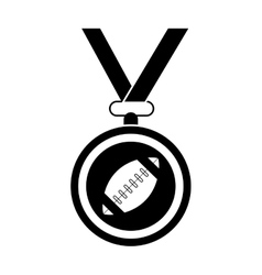 Silhouette sport medal ribbon american football vector