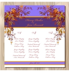 Table guest list autumn wild grape background vector