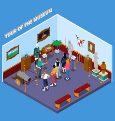 Tour of museum isometric composition vector
