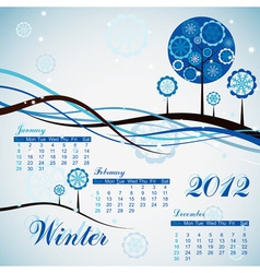 tree winter calendar 2012 vector image