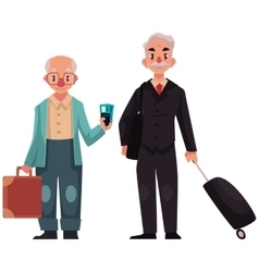 Two old senior men with suitcases in airport vector image