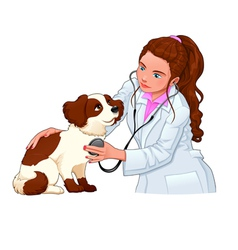 Veterinary with dog vector