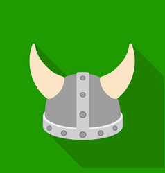Viking helmet icon in flat style isolated on white vector