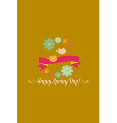 With birds ribbon flower and vector