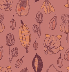 Seamless pattern with seeds and seed pods vector image
