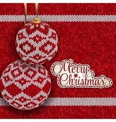 Christmas greeting card with red knitted balls vector