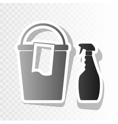 Bucket and a rag with household chemical bottles vector