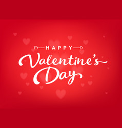 red happy valentines day card with hearts and vector image