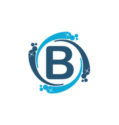 water clean service abbreviation letter b vector image