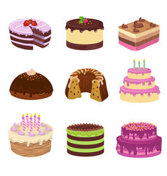 Birthday party tasty cakes anniversary vector