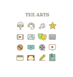 Different arts thin line color icons set vector