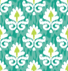 Emerald ikat damask vector
