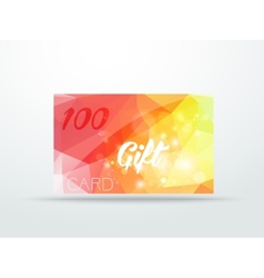 Gift greeting card yellow red glitter with shine vector