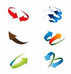 3D Global Arrow Icon Set vector image vector image